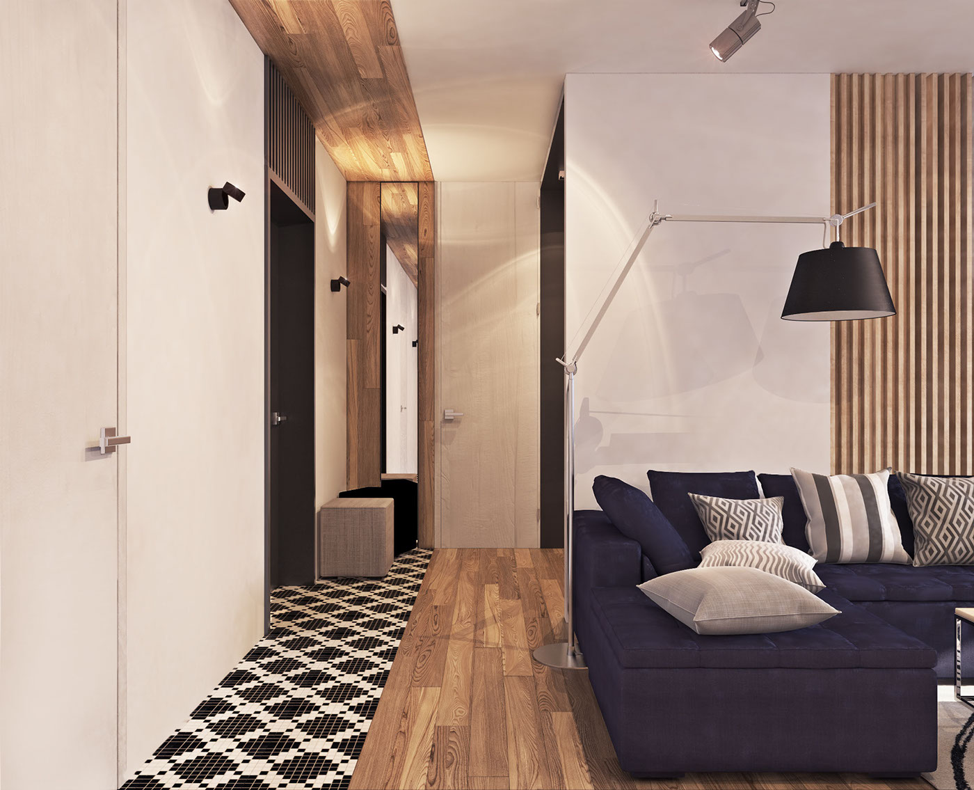 Natural Wood Paneling - A contemporary apartment with lots of open space