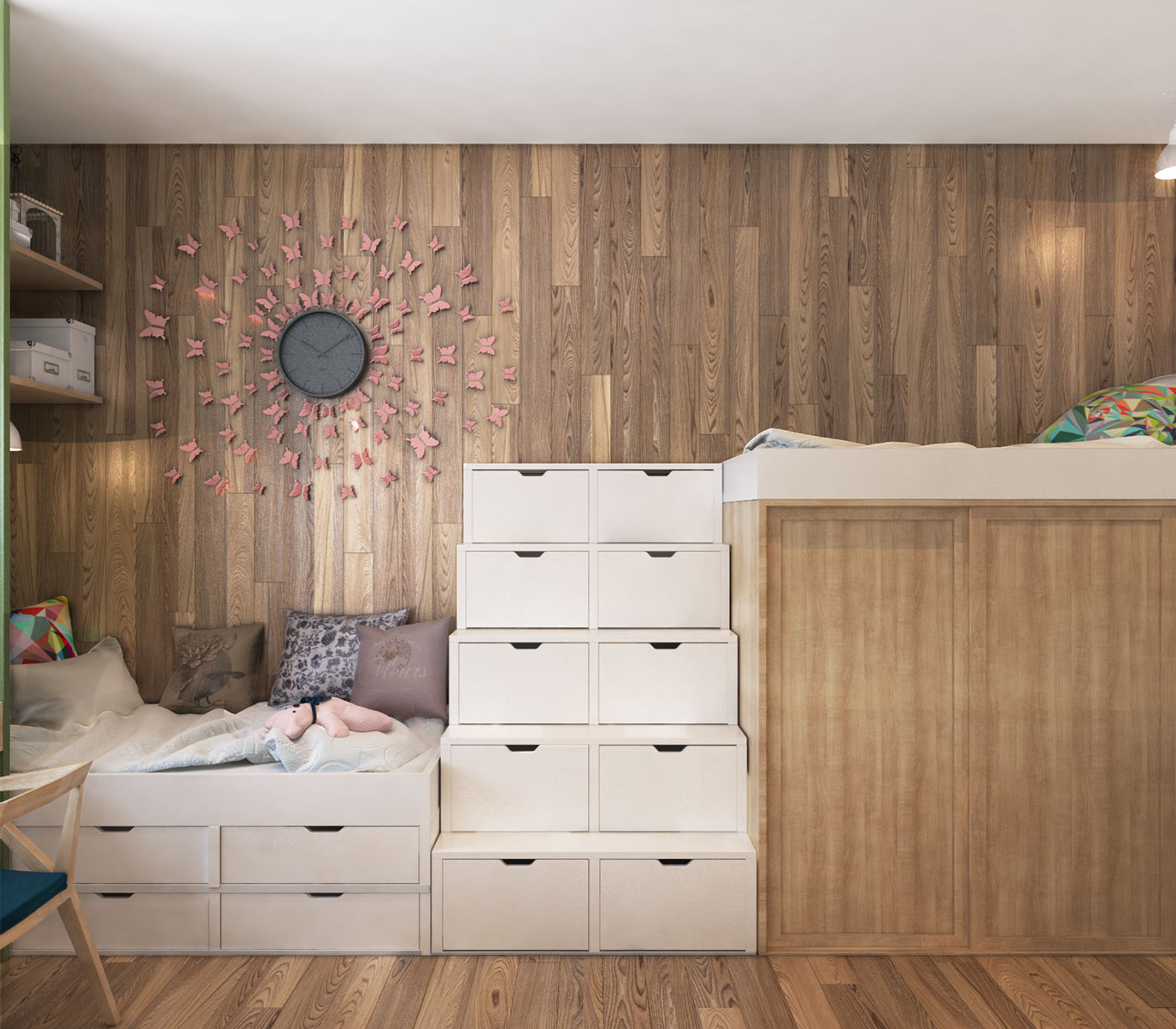 Natural Wood Wall Paneling - A contemporary apartment with lots of open space