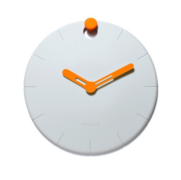 The Hoock Clock makes it simple to hang a clock anywhere and lets the orange 'hook' become 12 o'clock.