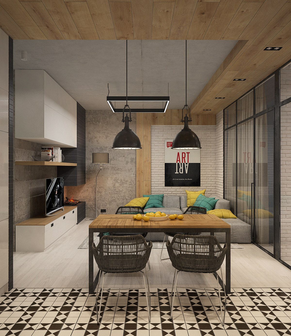 Patterned Tile Floors - Two sleek apartments with interior glass walls
