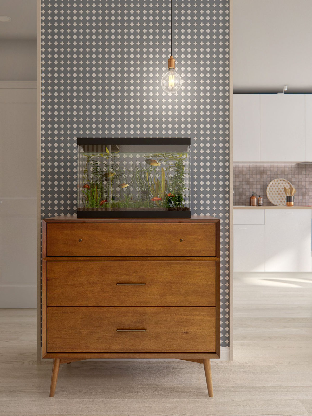Patterned Wallpaper - A midcentury inspired apartment with scandinavian tendencies