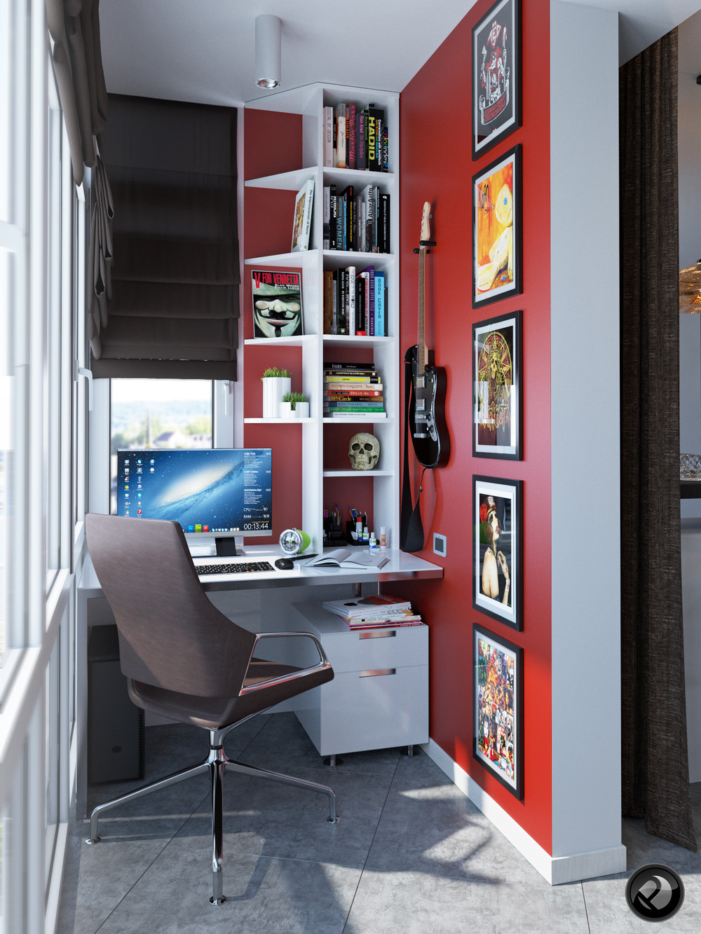 Red Wall Home Office - 5 apartment designs under 500 square feet