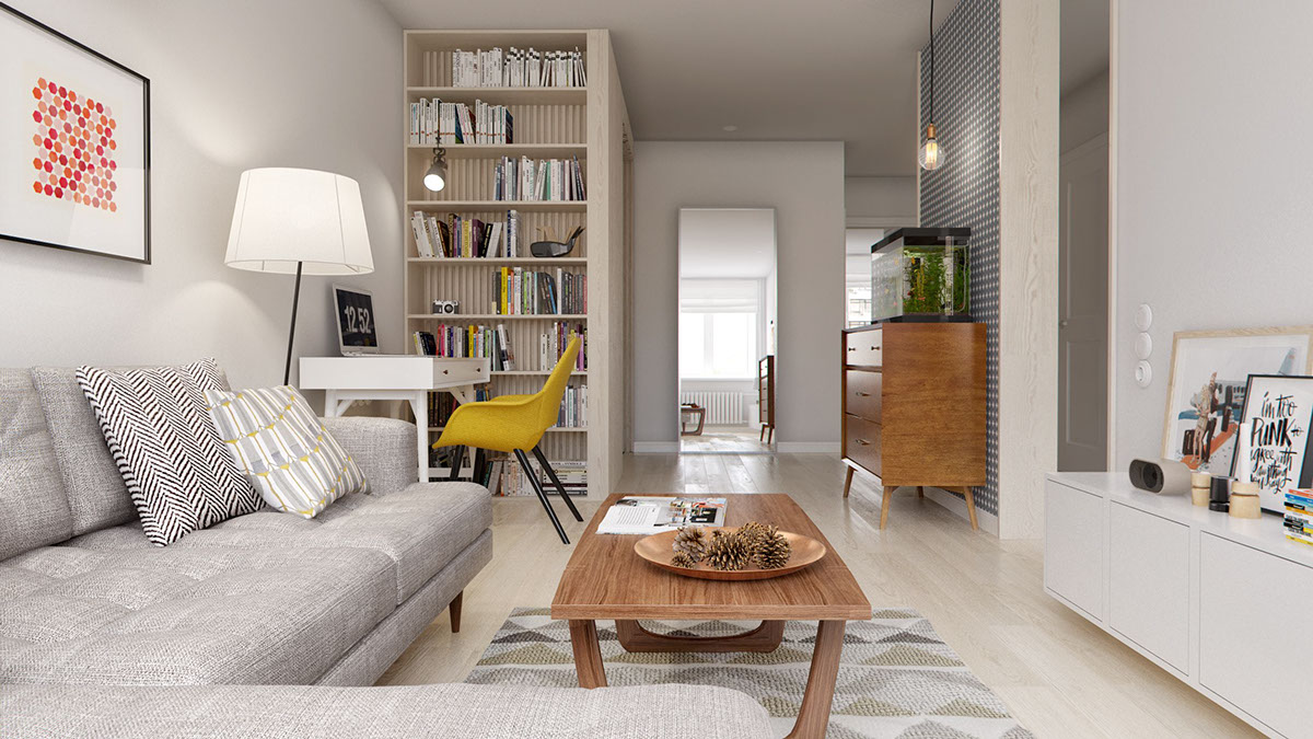Simple Gray Sofa - A midcentury inspired apartment with scandinavian tendencies