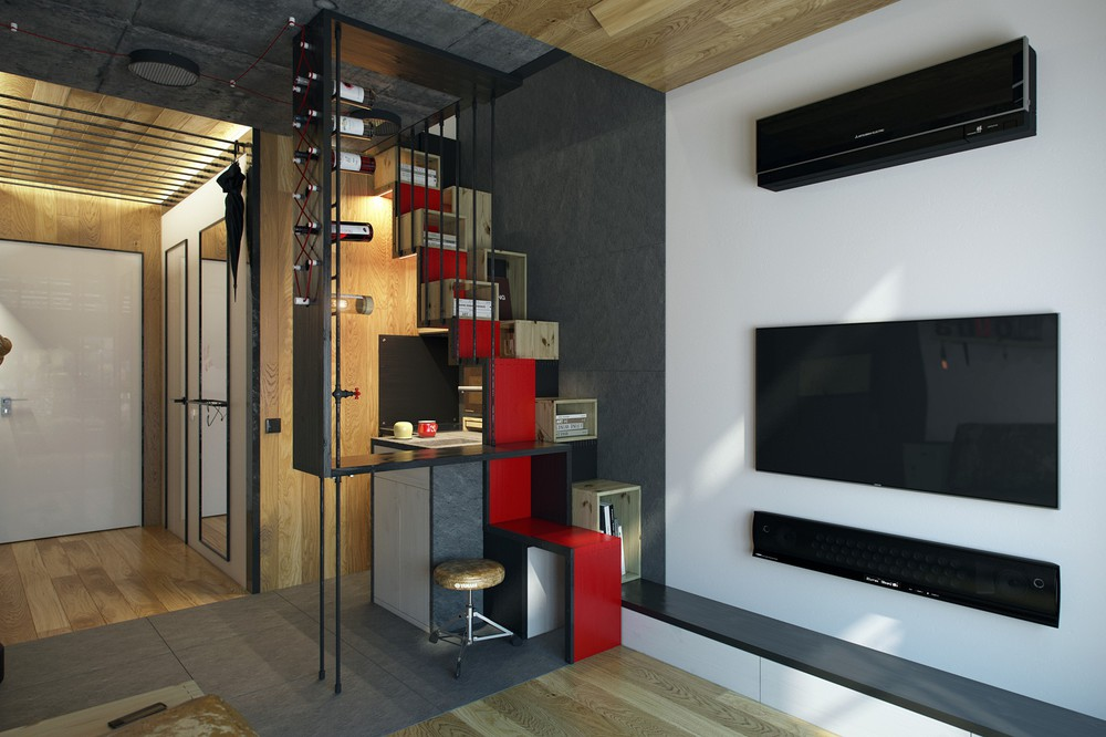 micro home design super tiny apartment of 18 square meters. Black Bedroom Furniture Sets. Home Design Ideas