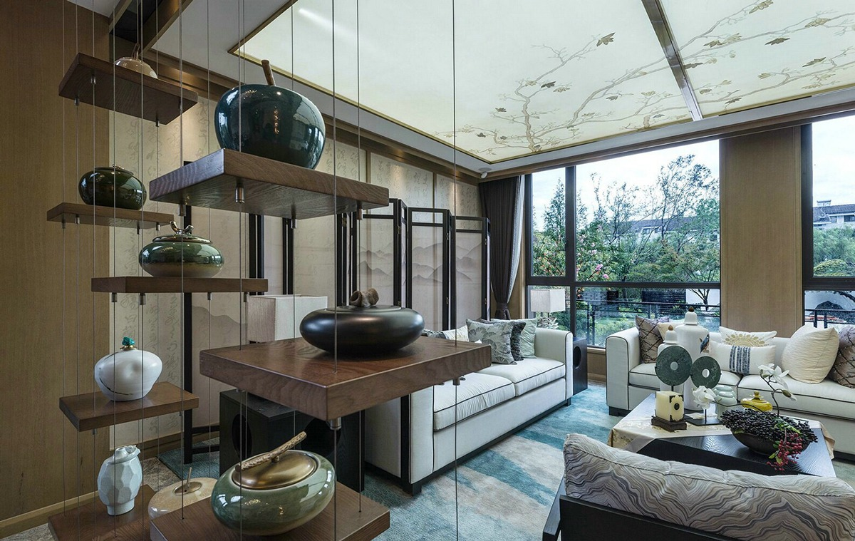 Suspended Shelving - An opulent chinese mansion straight out of the 80s