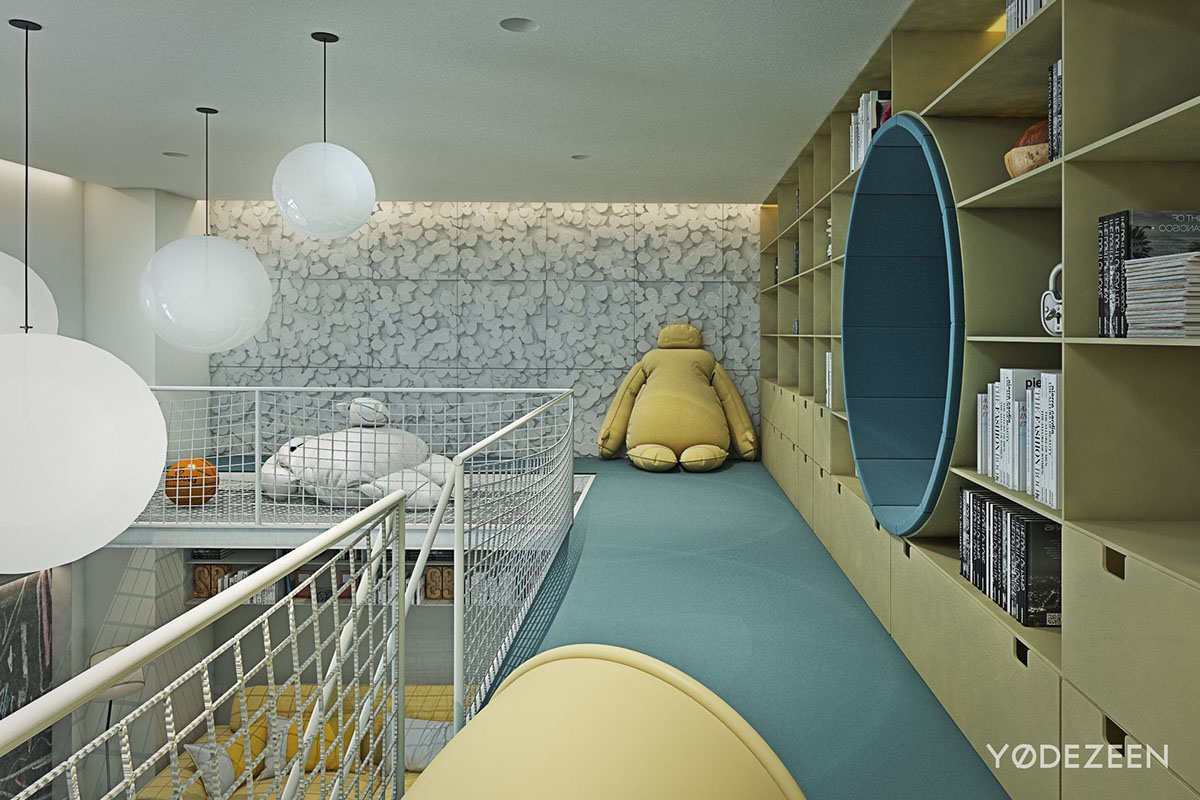 Teal And Yellow - A kids friendly apartment design with lots of playful features