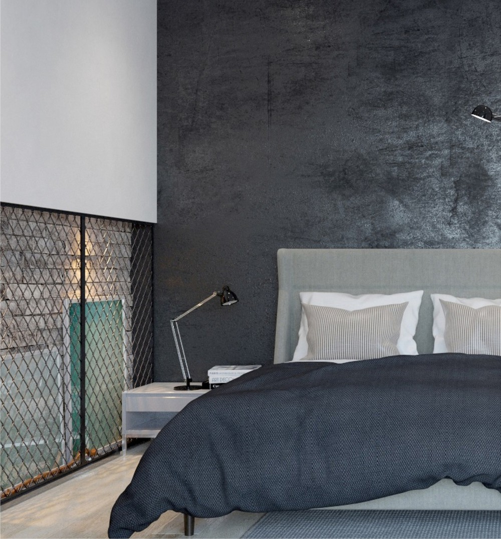 Textured Concrete Wall - Two sleek apartments with interior glass walls