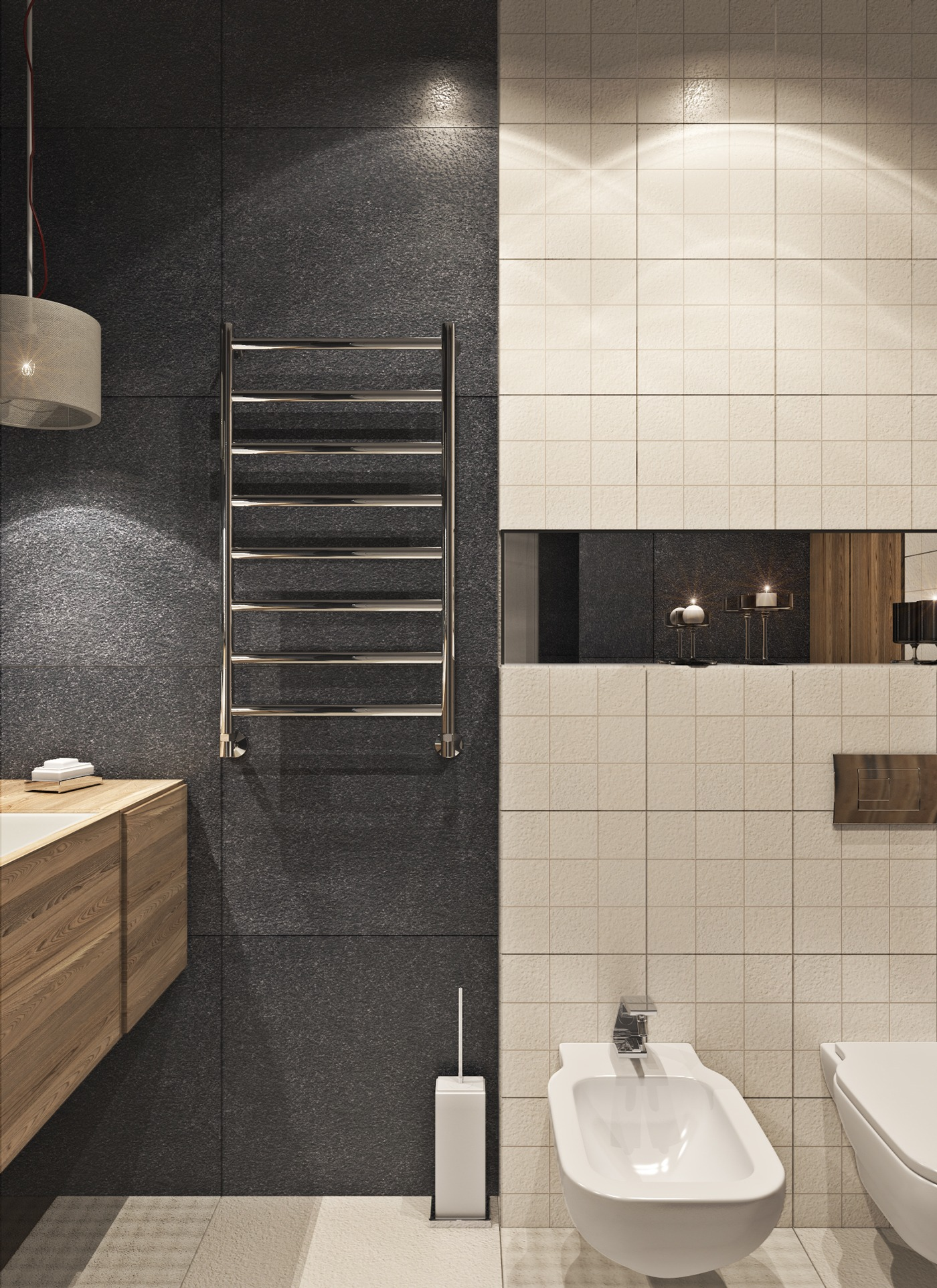 Towel Warmer - A contemporary apartment with lots of open space