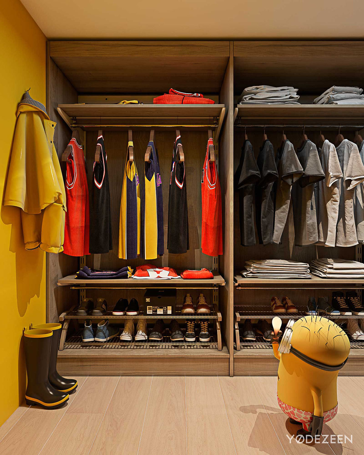 Walk In Kids Closet - A kids friendly apartment design with lots of playful features