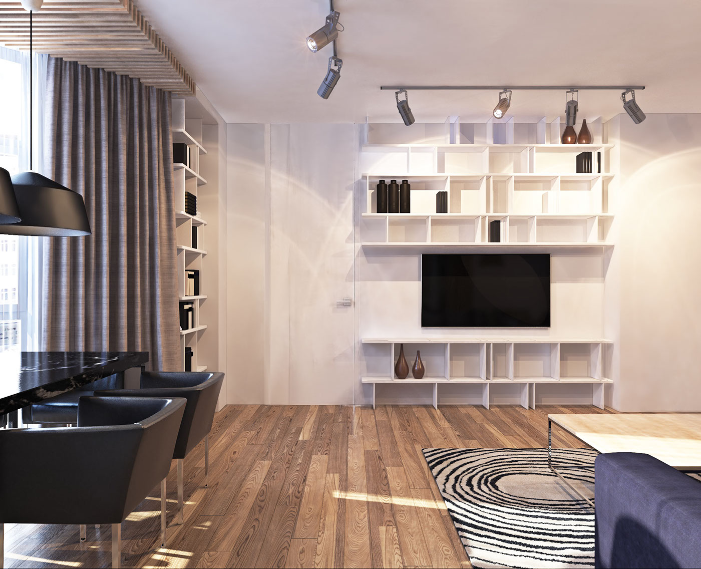 White Shelving - A contemporary apartment with lots of open space