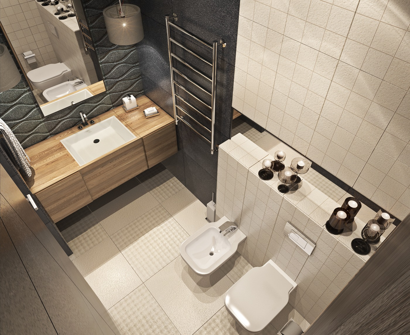 White Tile Bath - A contemporary apartment with lots of open space