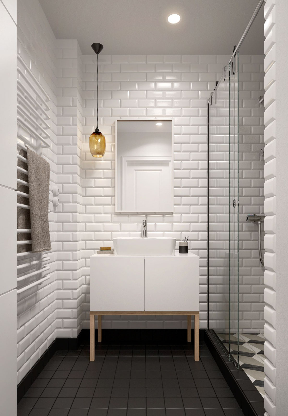 A midcentury inspired apartment with scandinavian tendencies for White bathroom tile ideas