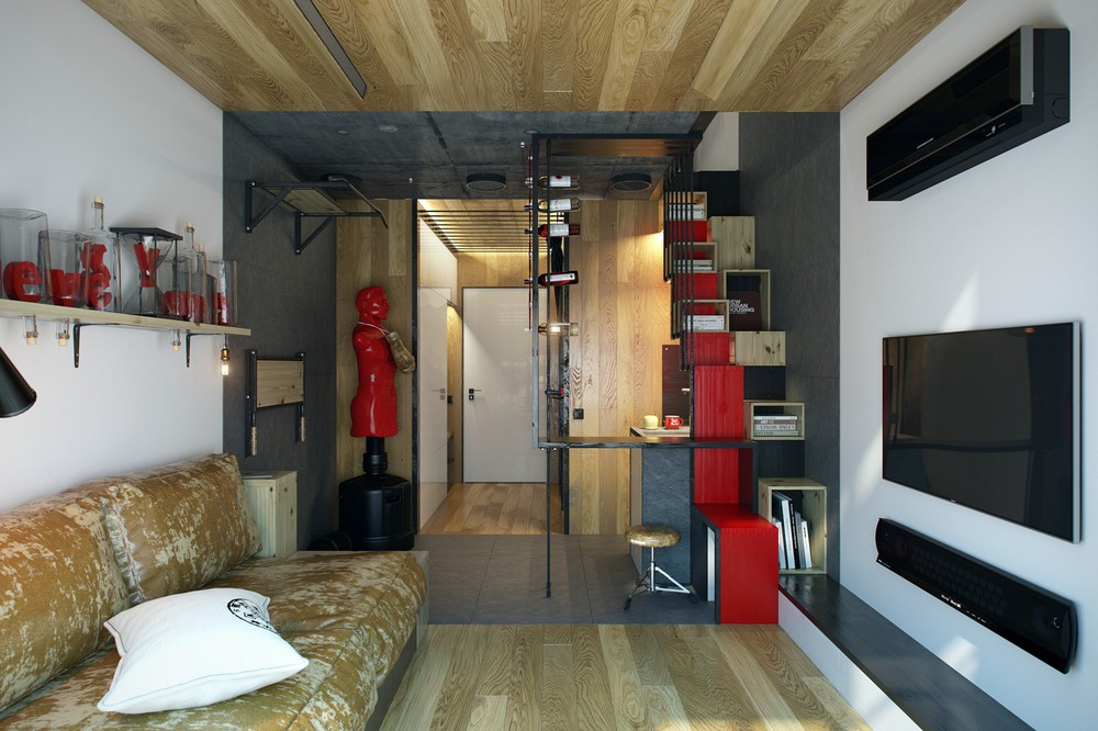 Micro home design super tiny apartment of 18 square meters for Living room 10 square meters