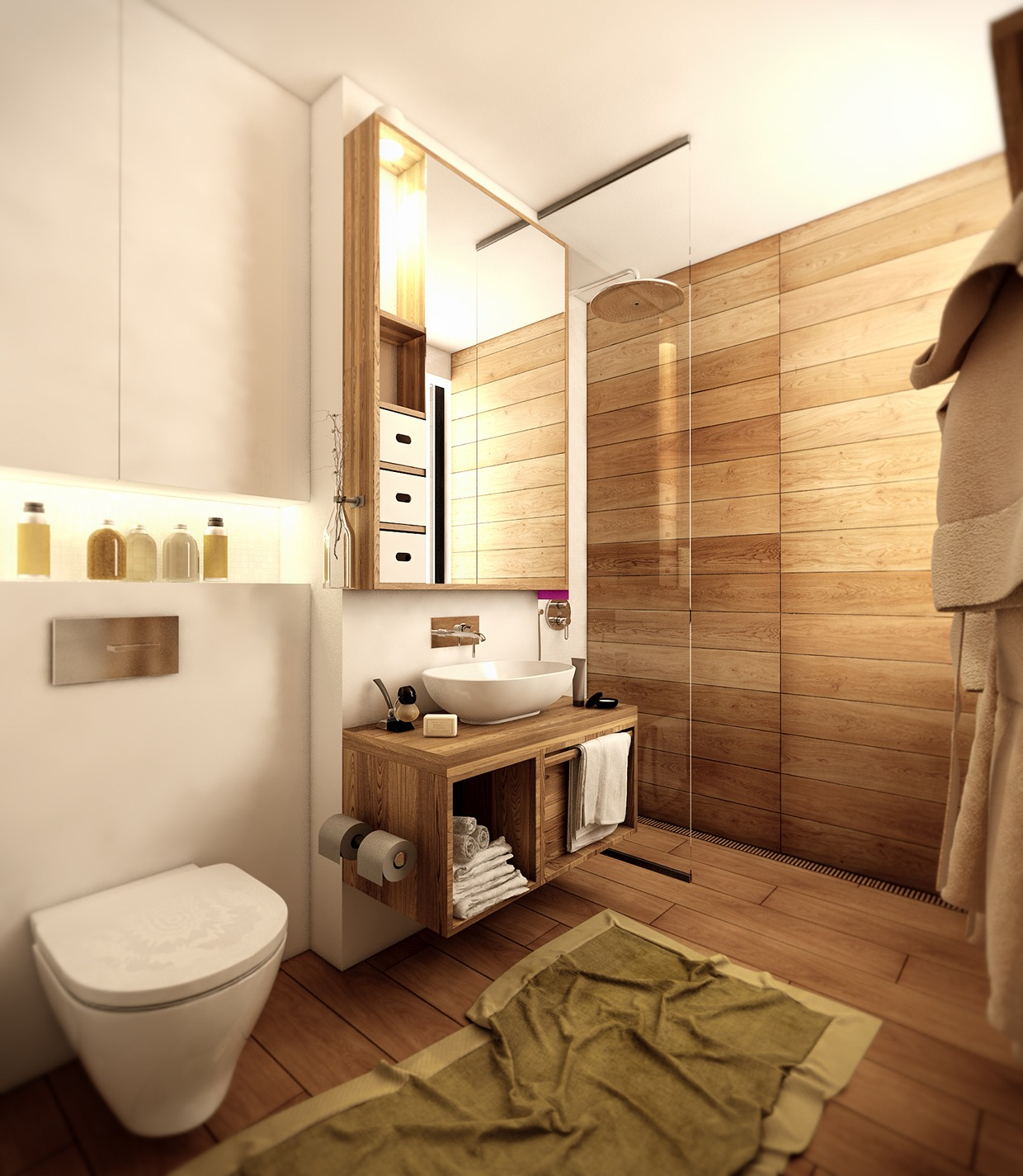 Wood floor bathroom interior design ideas for Designer bathroom flooring