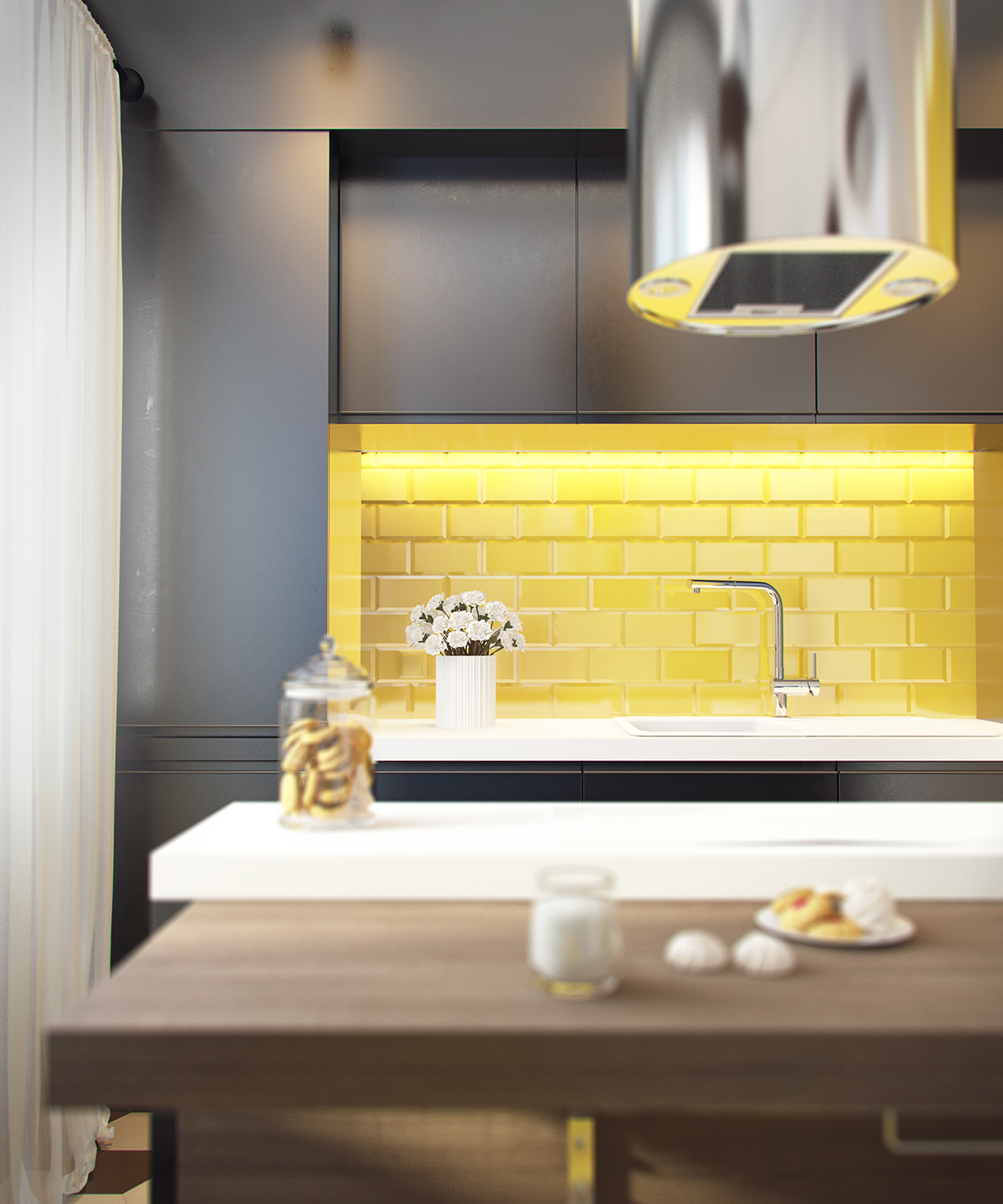 yellow-brick-backsplash | Interior Design Ideas.