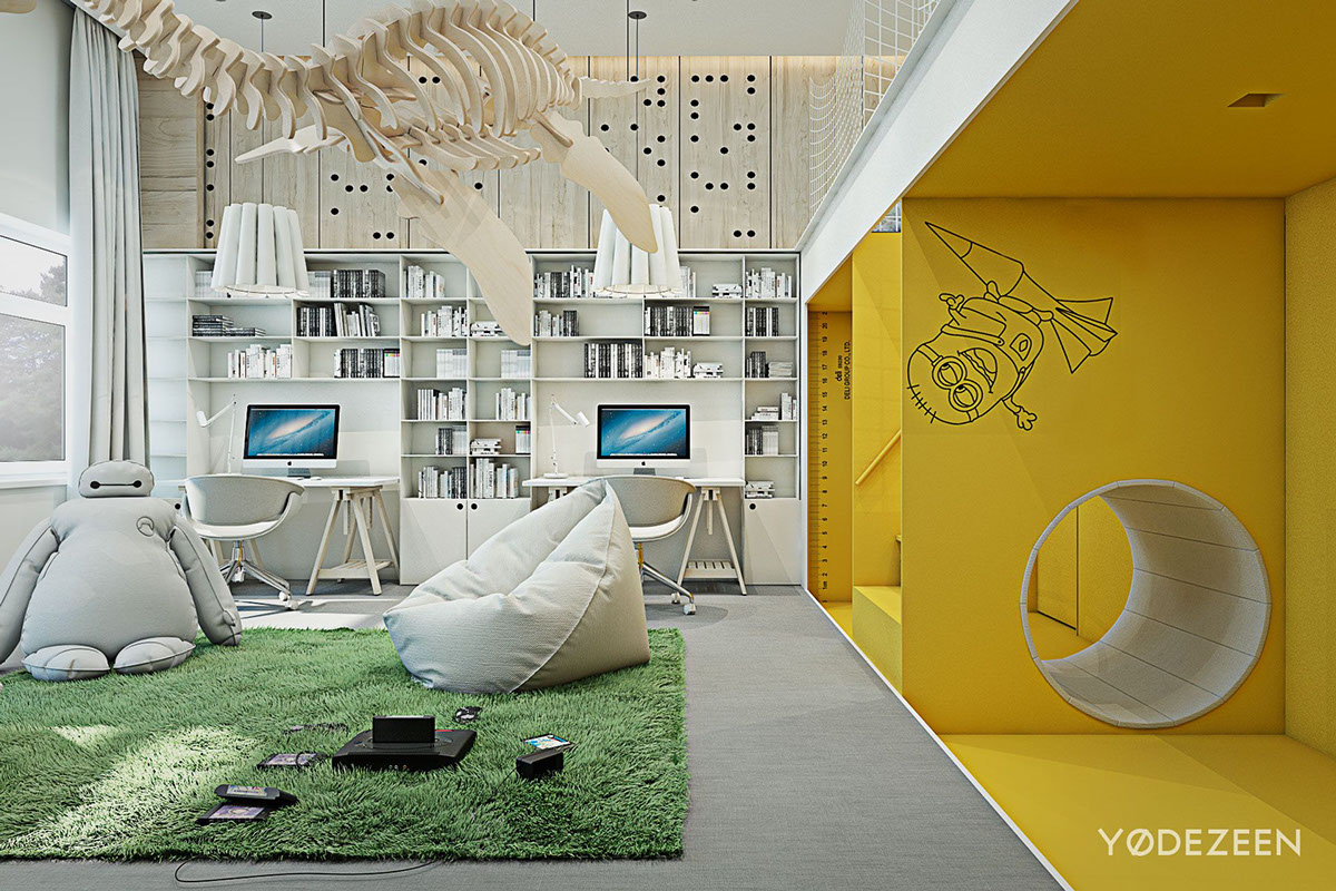 Yellow Wall Colors - A kids friendly apartment design with lots of playful features