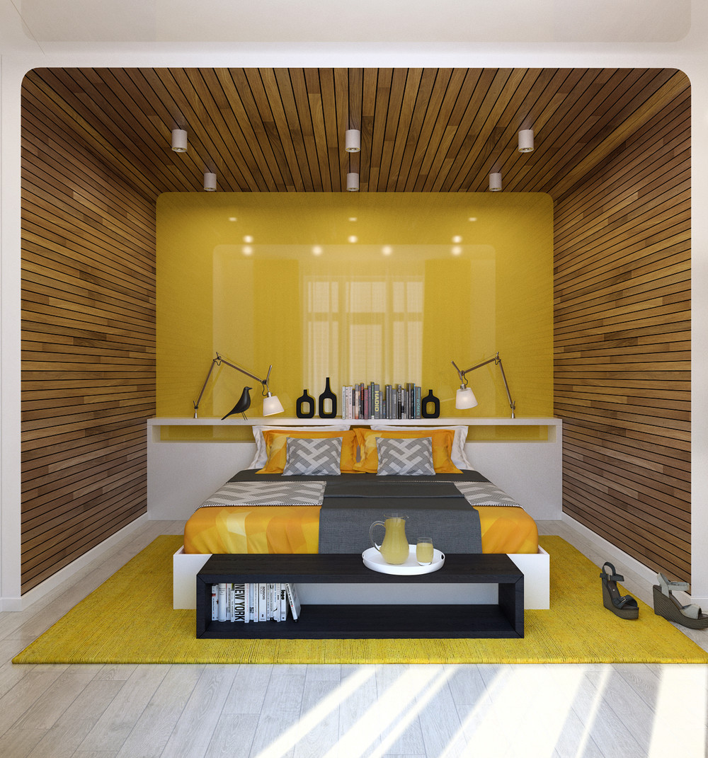 yellow-wall-paneling-lacquer | Interior Design Ideas.