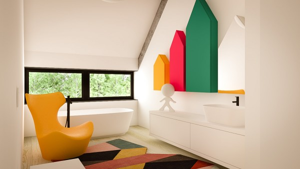 Of course, a child's room is the perfect canvas for a bit more color, as evidenced by these almost but not quite primary colored wall units.