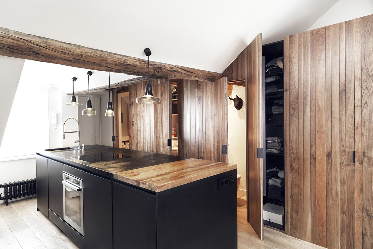 Butcher Block Countertop - 2 small and cute french apartments under 50 square meters