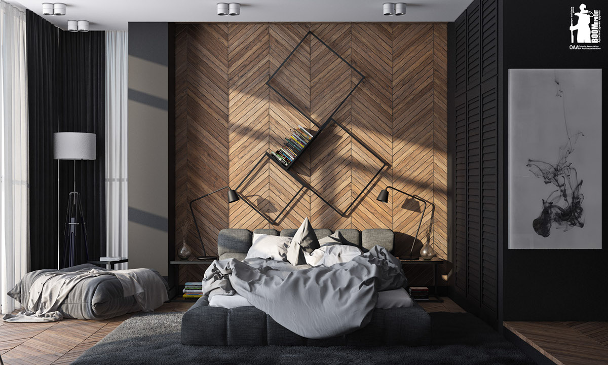 7 stylish bedrooms with lots of detail for Wood wallpaper bedroom
