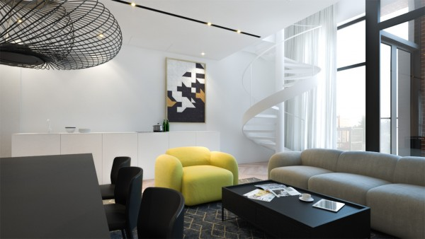 The next home is even more modern and cool, using cool whites with grays and blacks to create a retro mod feel. The electric yellow chair - in the same shape and style as the sofa - is quite an accent piece in this sleek living room.