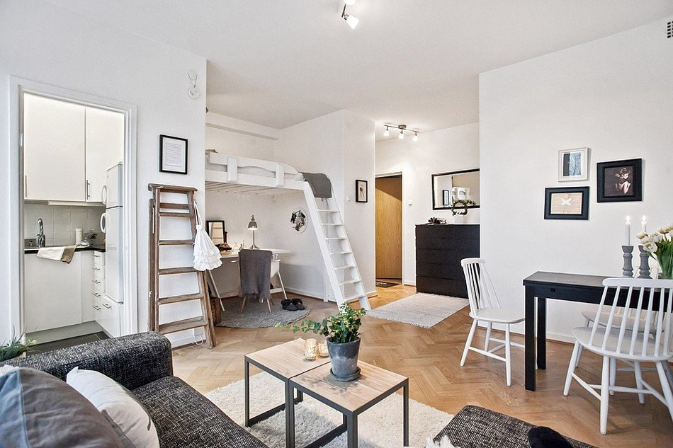 4 awesome small studio apartments with lofted beds - Loft met mezzanine ...