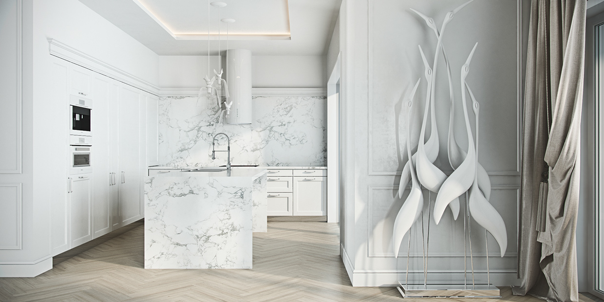 Crane Sculpture - 4 beautiful homes with a white theme