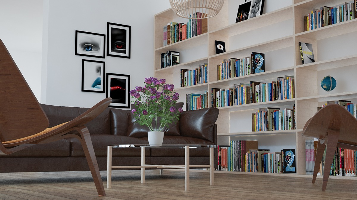 Custom Bookshelves - 3 beautiful scandinavian style interiors