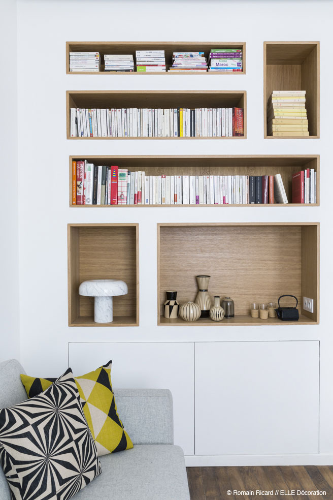 Custom Built In Shelving - 2 small and cute french apartments under 50 square meters