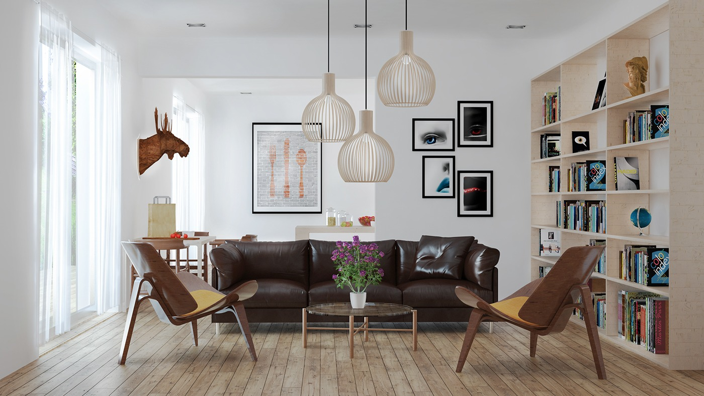 Dark Leather Sofa - 3 beautiful scandinavian style interiors