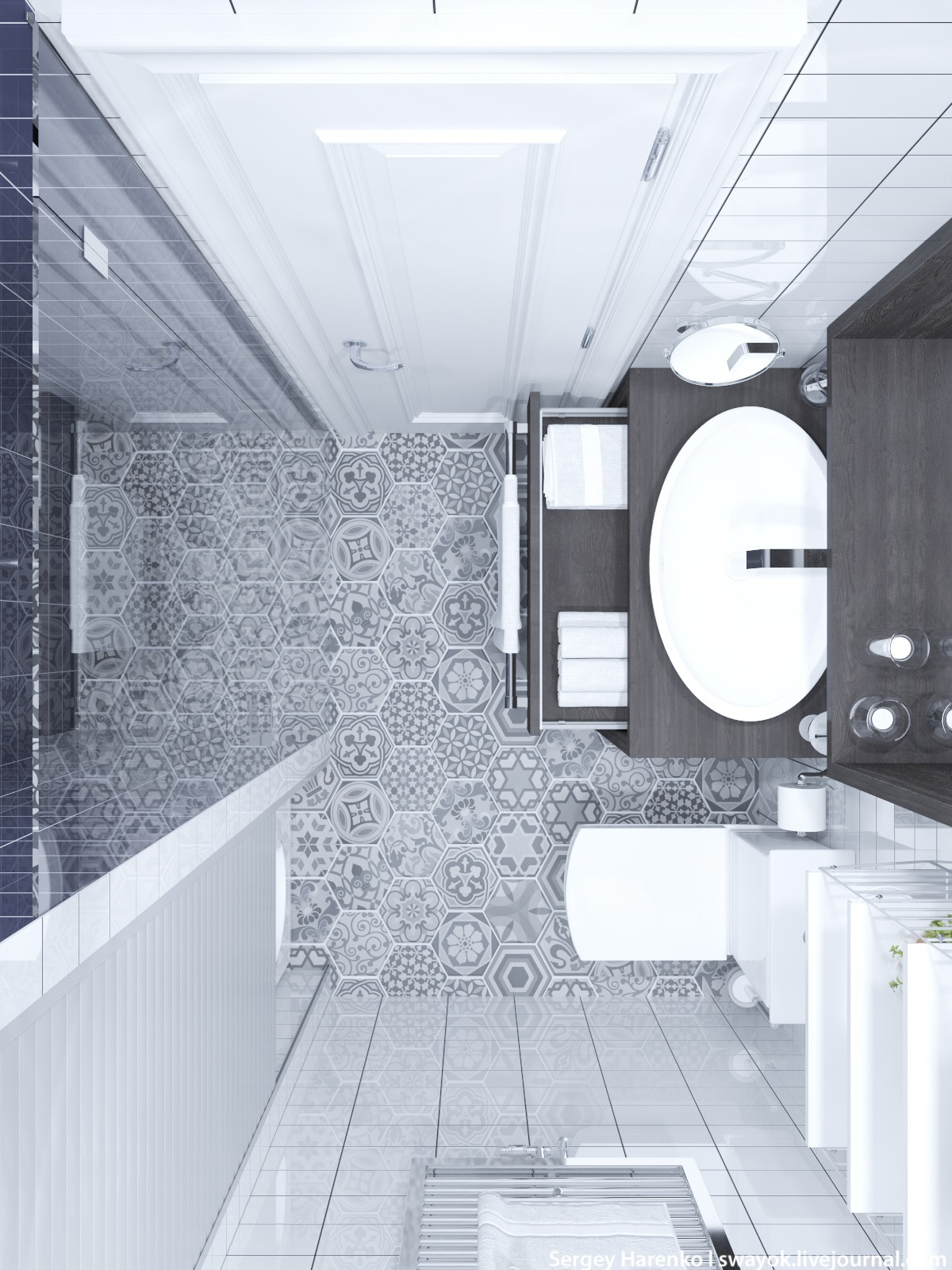 Elaborate Tile Bathroom - 3 beautiful scandinavian style interiors