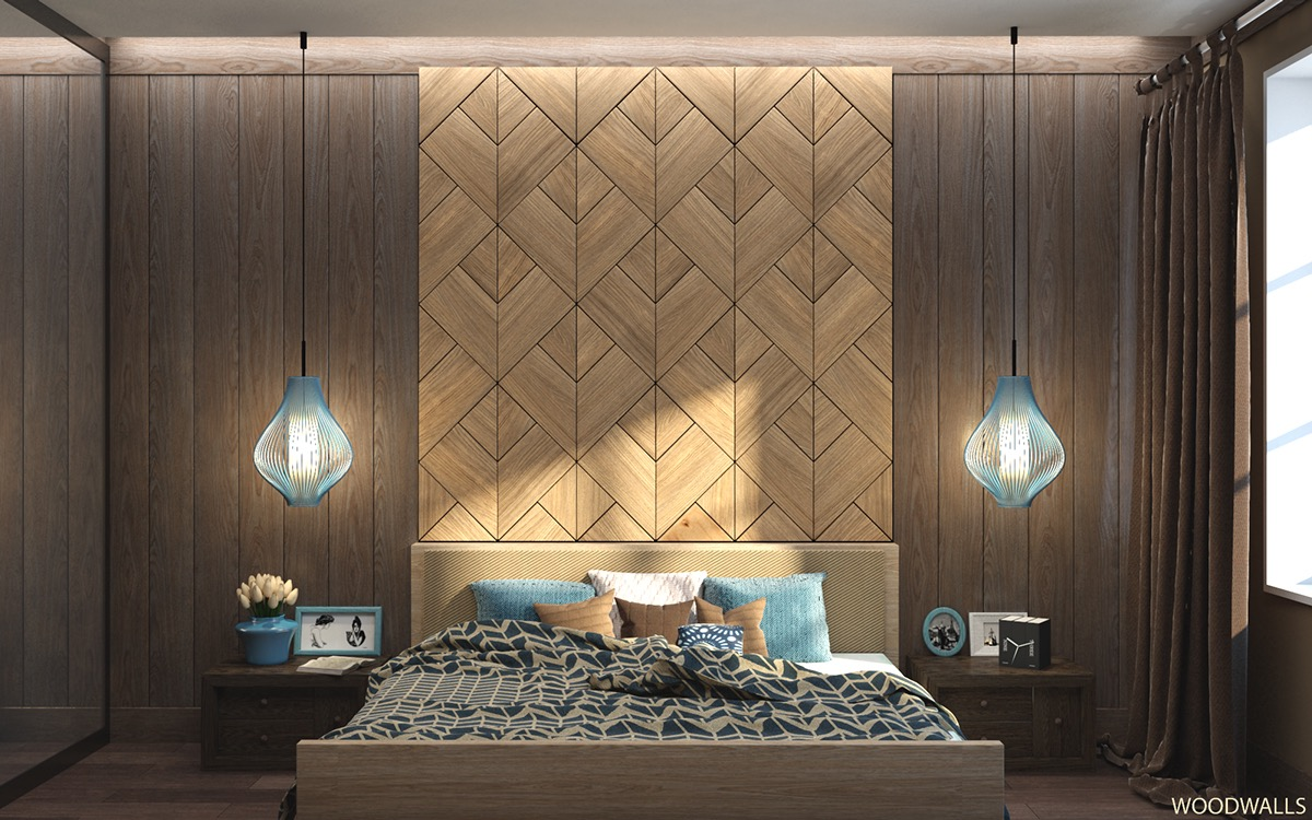 Bedroom wall textures ideas inspiration for Wood wallpaper bedroom