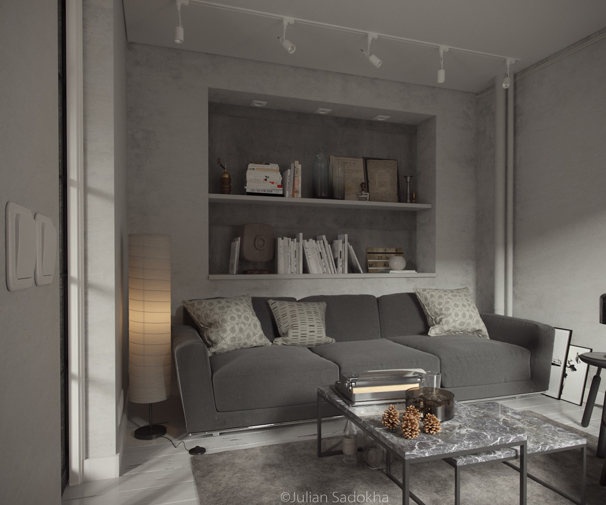 A cool grey interior for a free spirit for 10 by 10 living room