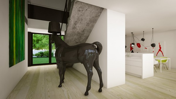 ... Creative Interiors That Utilize Bright Accents Large Modern. Perhaps  The First Wink Of Whimsy Comes With This Oversized Horse Lamp. Clearly This  Home
