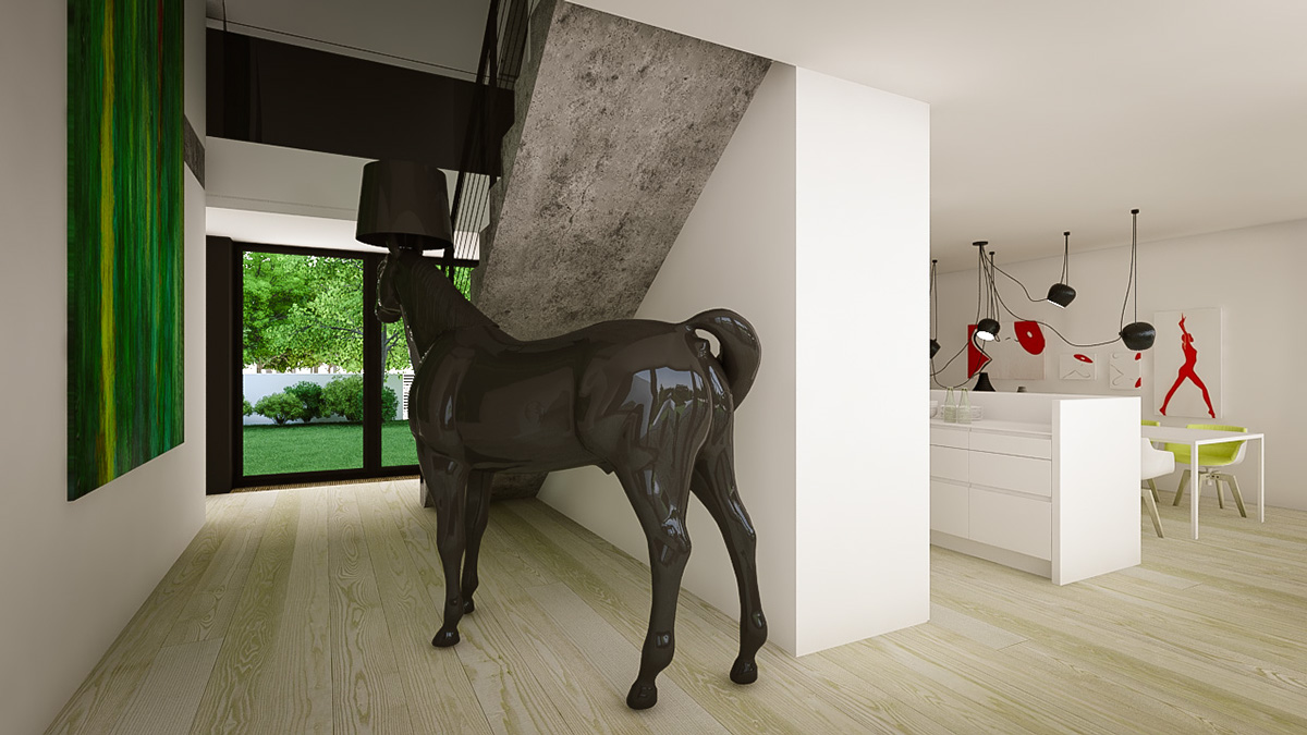 Horse Lamp - 3 creative interiors that utilize bright accents
