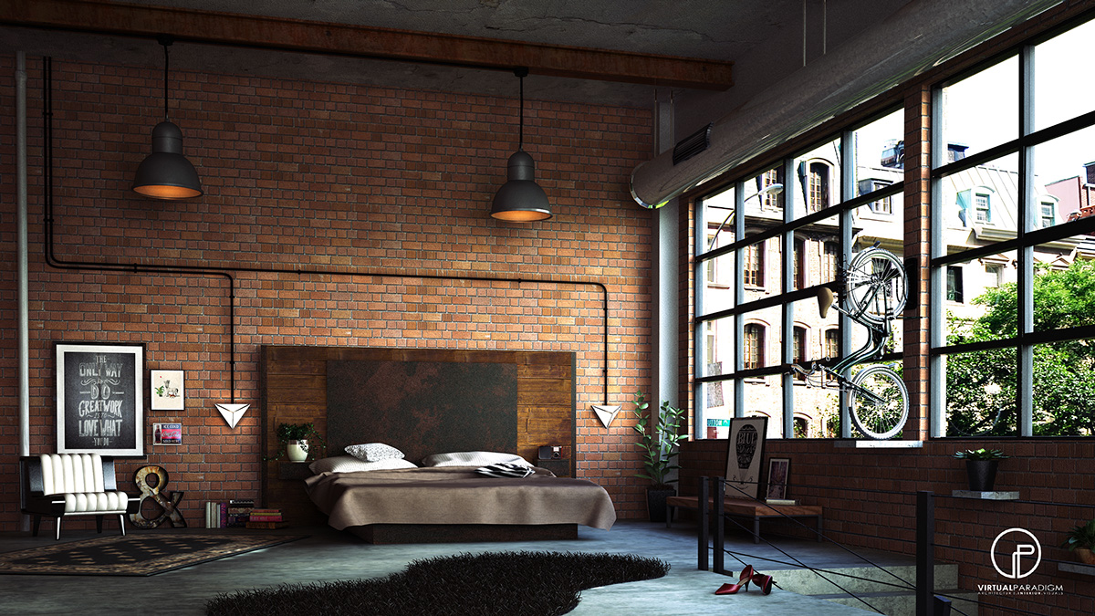 Industrial brick wall bedroom interior design ideas for Interior brick wall designs