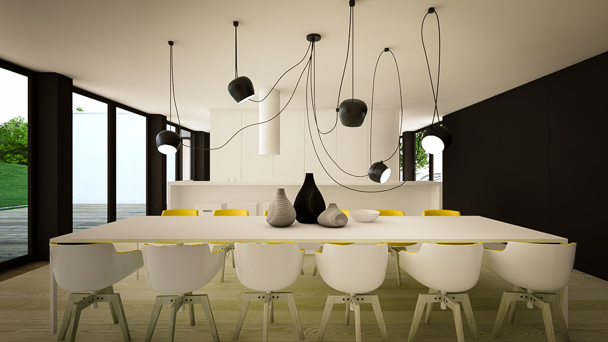 Large Modern Dining Room - 3 creative interiors that utilize bright accents
