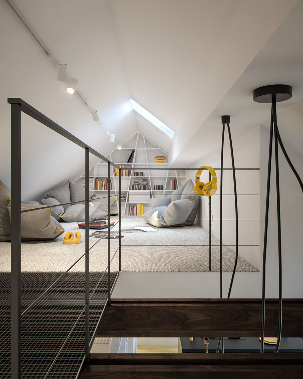 Lofted Reading Area - 3 creative interiors that utilize bright accents