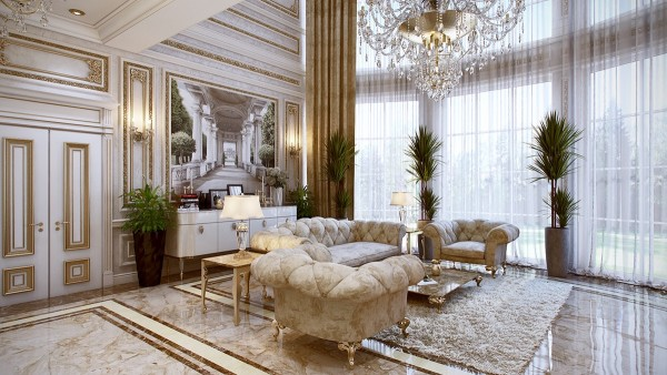 This luxurious home combines neoclassical and modern design. The streamlined aesthetic is reminiscent of Louis XVI – note the fluted legs on the sideboard and side tables. Neoclassical decor took cues from Etruscan influences, which itself is derived from Greek architecture.