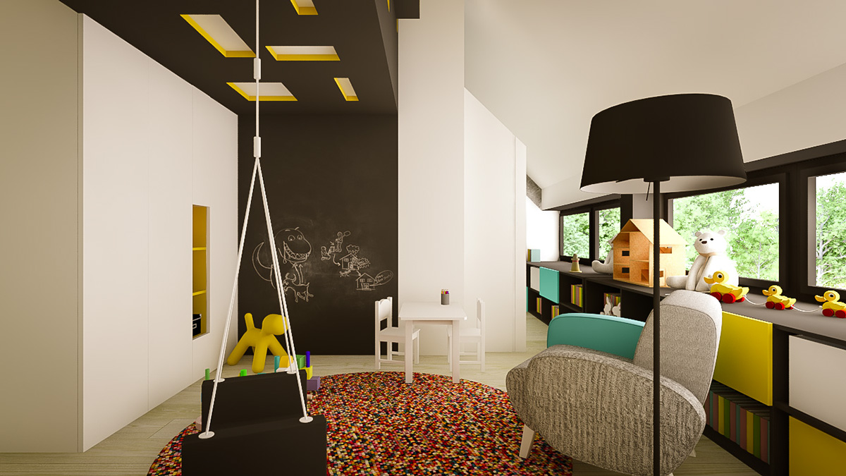 Modern Kids Playroom Design - 3 creative interiors that utilize bright accents