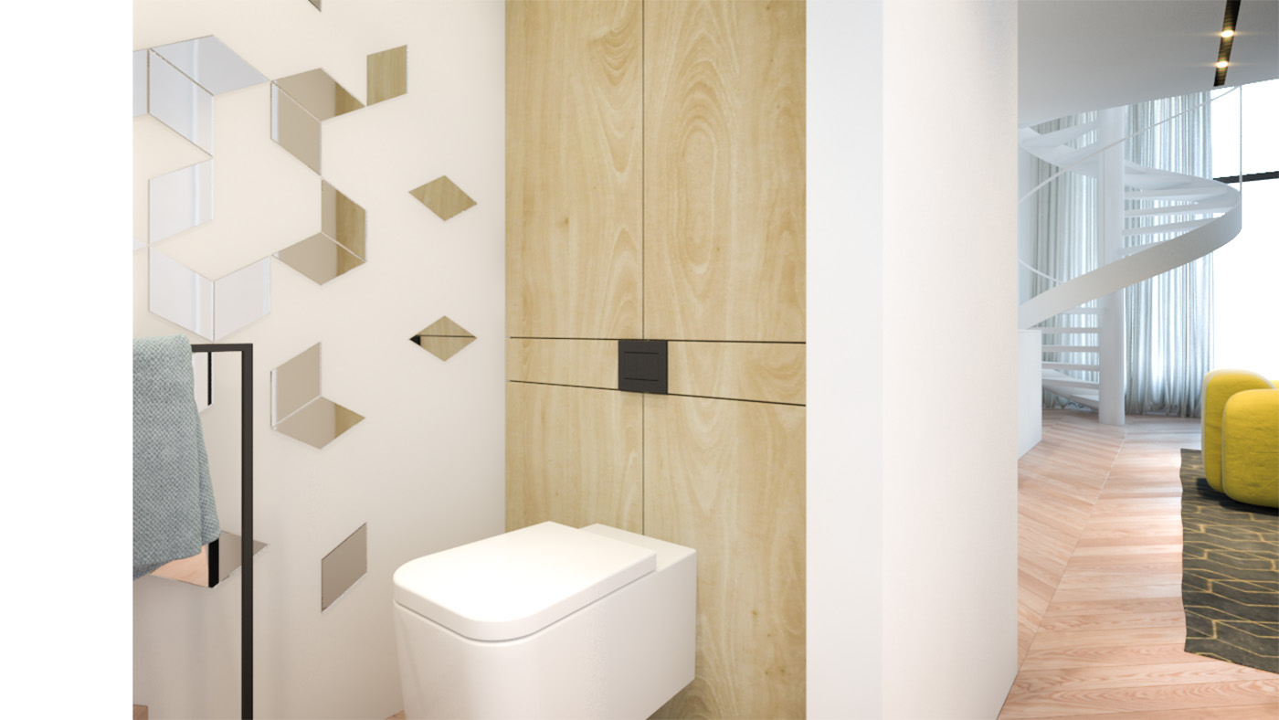 Rectangular Toilet - 3 creative interiors that utilize bright accents