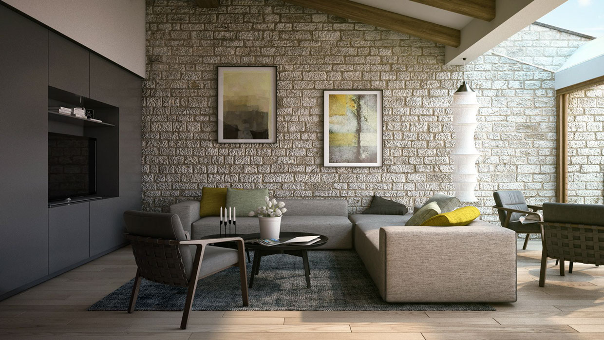 This classic stone wall treatment provides an interesting contrast to ...