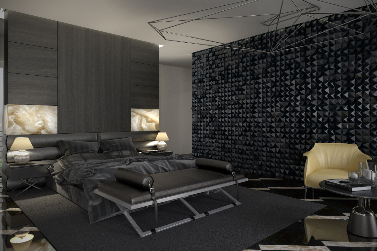 7 stylish bedrooms with lots of detail for Black bedroom wallpaper designs