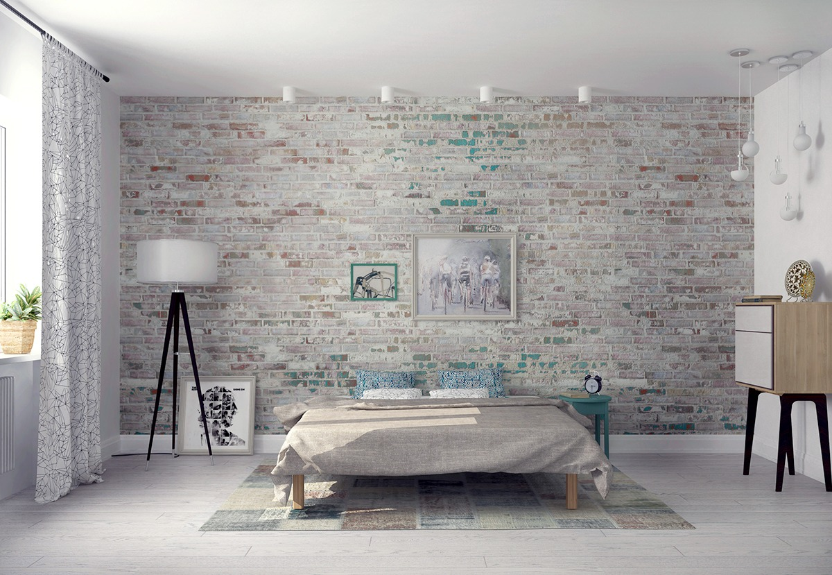 Bedroom wall textures ideas inspiration for Grey brick wallpaper bedroom
