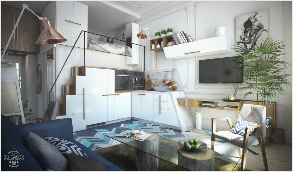 White Cabinets - 4 awesome small studio apartments with lofted beds