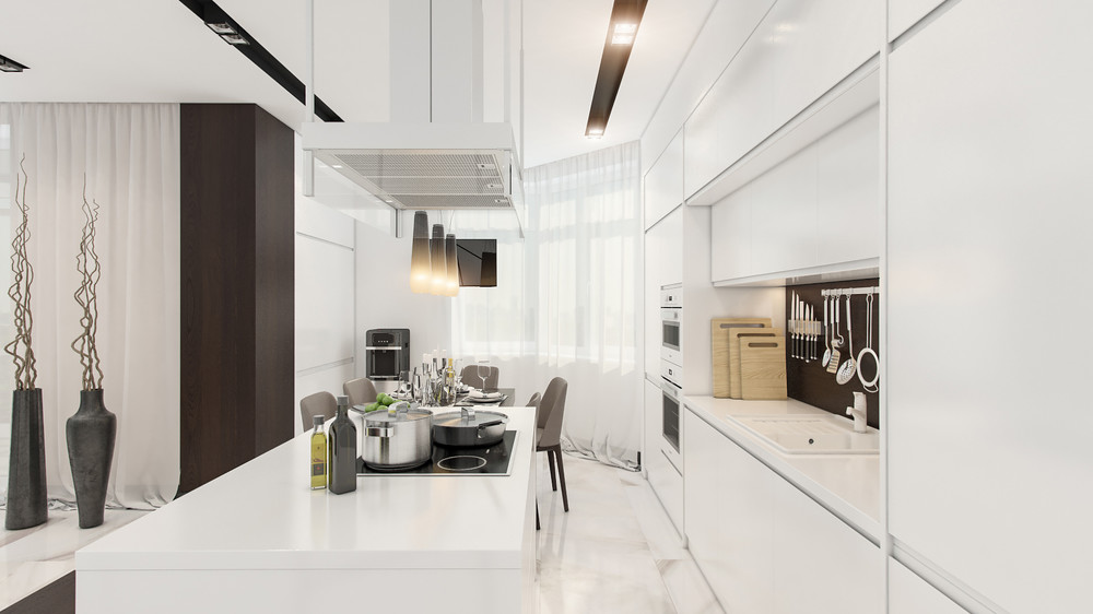 White Kitchen Counter - 4 beautiful homes with a white theme