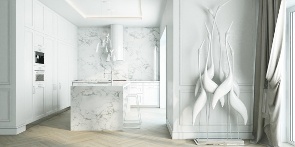 White Marble Kitchen 4 Beautiful Homes With A White Theme White Marble  Kitchen