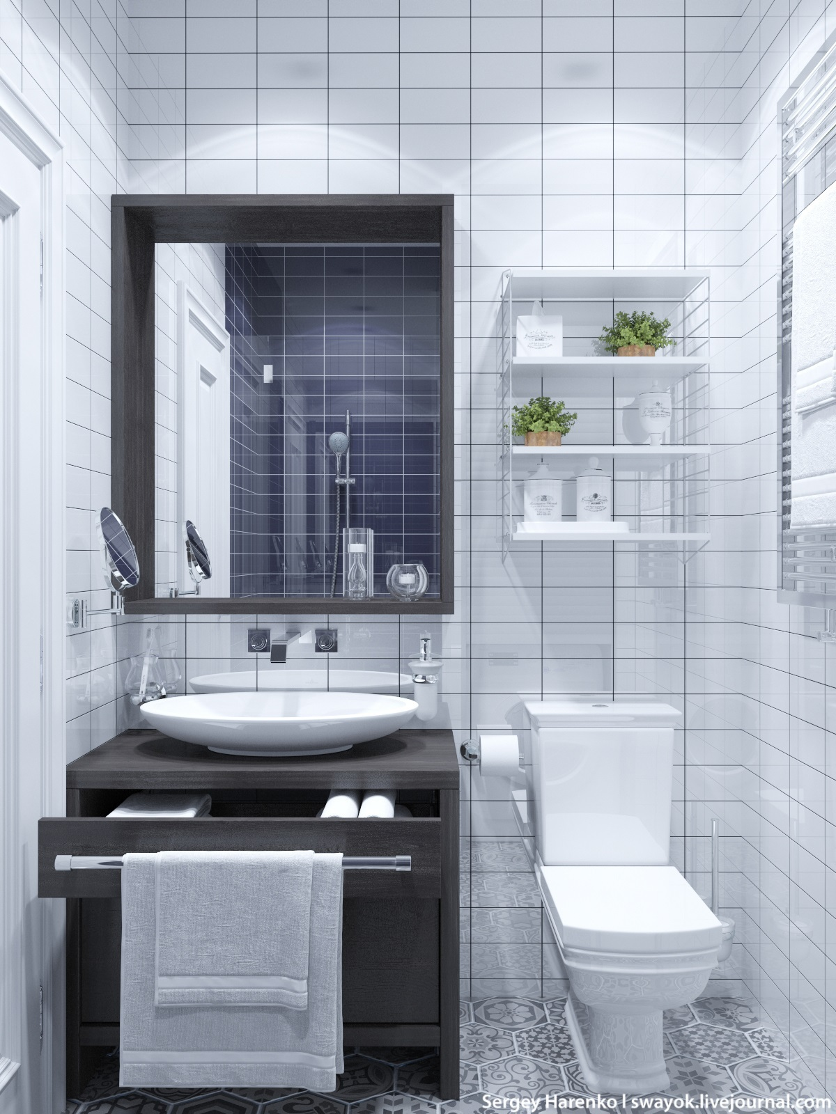 White Tile Bath - 3 beautiful scandinavian style interiors