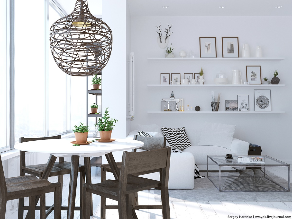 Wood Cage Light Fixture - 3 beautiful scandinavian style interiors
