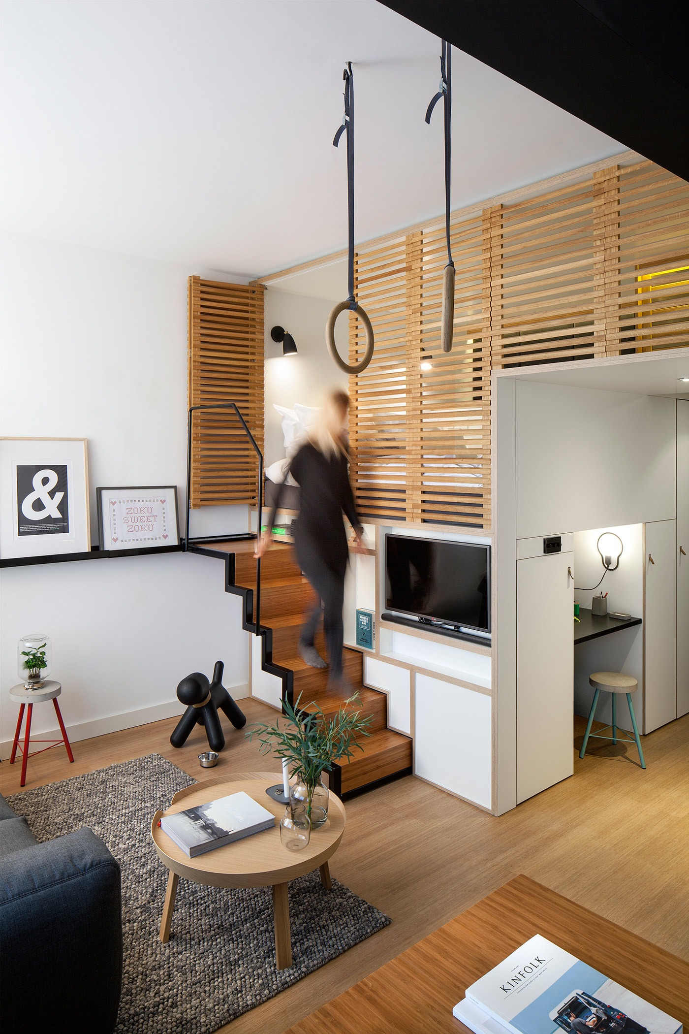 Wood Panel Steps - 4 awesome small studio apartments with lofted beds